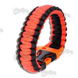 Orange and Black Paracord Survival Bracelet with Emergency Whistle QR Buckle
