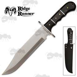 Ridge Runner Coyote Run Bowie Knife with Finger Contoured Grip Handle