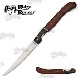 Ridge Runner Two Tone Wooden Grip Folding Filleting Knife