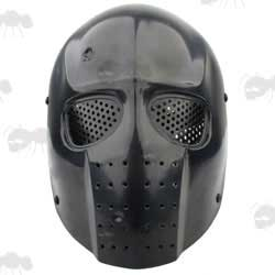 Black Plastic Army of Two Salem Style Airsoft Mask with Perforated Mesh Eye Panels
