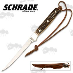 Schrade Walleye 10 Inch Fixed Blade Filleting Knife with Brown Leather Sheath