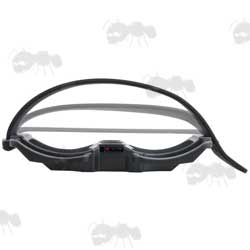 All Black Shooting Stick Threaded Binocular Rest Adapter With Band Shown in The Different Positions