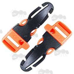 Two Large Orange and Black Plastic Quick Release Strap Buckles with Built in Whistle
