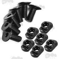 Set of Six Steel M-Lok Rail Fitting Nuts and Screws