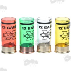 Four Plastic Shotgun Cartridge Style Shot Glasses with Metal Bases