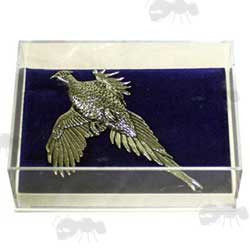 Small Clear Plastic Gift Box with Display Insert Holding a Pewter Pin Pheasant Badge