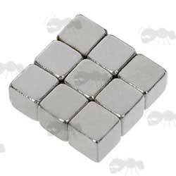 Nine Cube Shaped Rare Earth Magnets