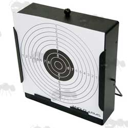 Square Steel Target Holder / Pellet Trap with Paper Bullseye by Anglo Arms
