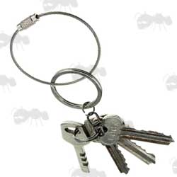 Stainless Steel Keychain Cable with Keys on Keyring
