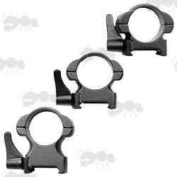 Low, Medium and High Profile 30mm Diameter Steel Scope Rings with Lever Lock for Weaver Rails