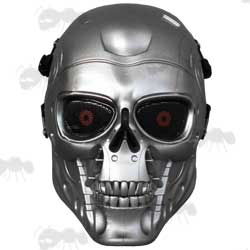 Silver T800 Terminator Style Fibreglass Airsoft Mask with Red Wire Mesh Eyes