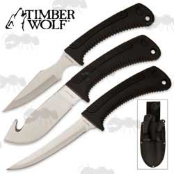Timber Wolf Elite Hunters Knife Set with Sheath