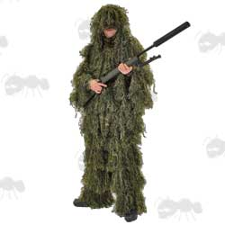 Sniper Wearing a Two Piece Ghillie Camouflage Suit