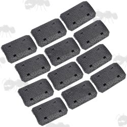 Set of Twelve Black Textured M-Lok Style Handguard Covers