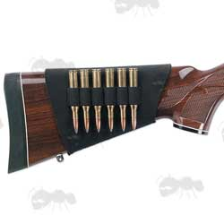 Black Neoprene Rifle Buttstock Cover with Cartridge Holders