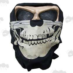 Black USMC Style Airsoft Hood with White Skeleton Skull Print