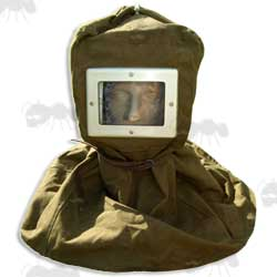 Green Canvas Russian Face Screen Hood Head Cover