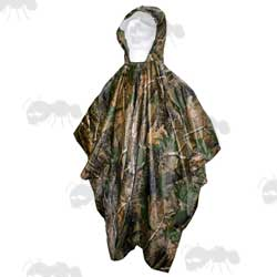 Woodland Camouflage Poncho with Large Hood