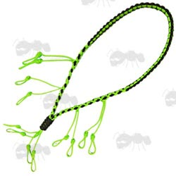 Neon Green and Black Paracord Weaved Game Call Lanyard with Twelve Drops
