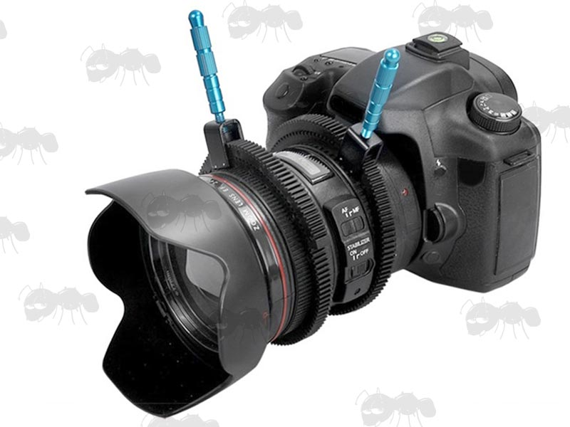 Blue Metal Handle Camera Power Lever with Adjustable Black Rubber Toothed Belt