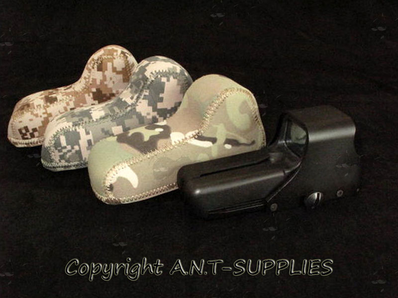 Three Camo Neoprene Covers with an EoTech 552 Sight