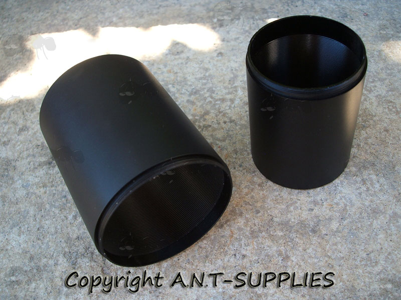 Two Black Metal Telescopic Scope Sunshades