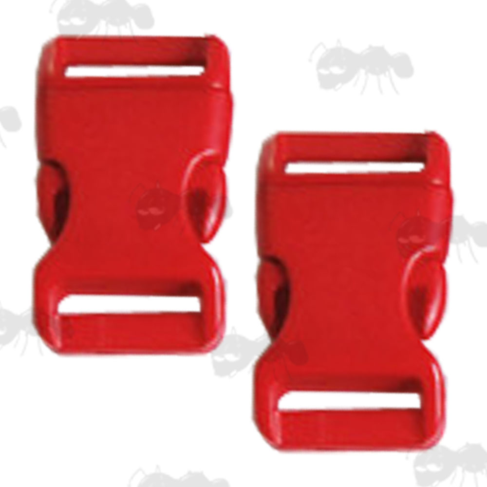 Two Large Red Plastic Curved Back Quick Release Paracord Buckles